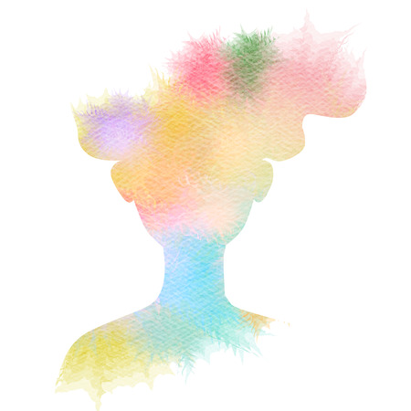 fas: Double exposure illustration. Woman silhouette plus abstract water color painted. Digital art painting. Stock Photo