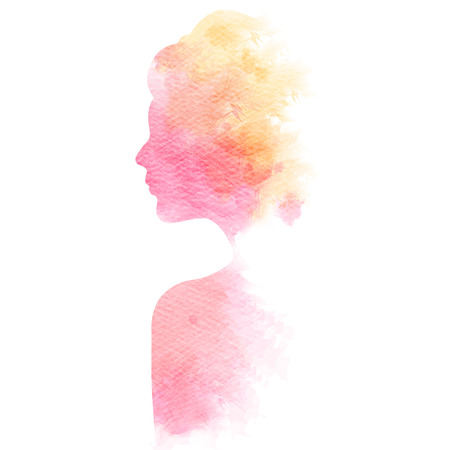 Double exposure illustration. Woman silhouette plus abstract water color painted. Digital art painting. Stok Fotoğraf