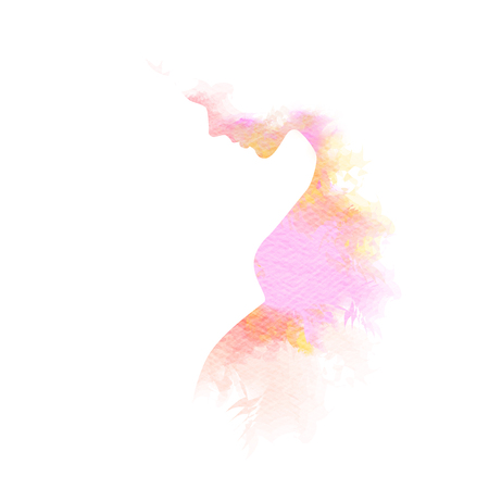 Double exposure Illustration of pregnant woman. Pregnant woman silhouette plus abstract water color painted. Digital art painting. Imagens - 56919028