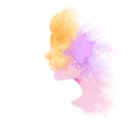 splash abstract: Double exposure illustration. Woman silhouette plus abstract water color painted. Digital art painting. Stock Photo