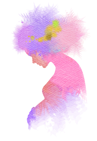 water birth: Double exposure Illustration of pregnant woman. Pregnant woman silhouette plus abstract water color painted. Digital art painting. Stock Photo