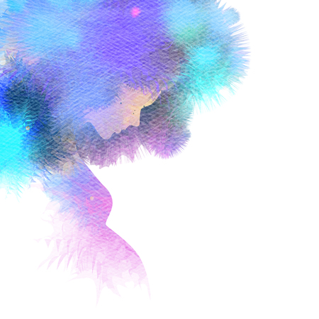 Double exposure Illustration of pregnant woman. Pregnant woman silhouette plus abstract water color painted. Digital art painting. Stock Photo