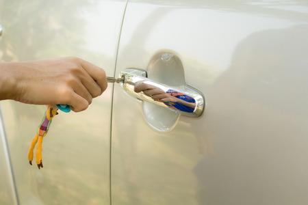 car door: Action of Open car door. Stock Photo