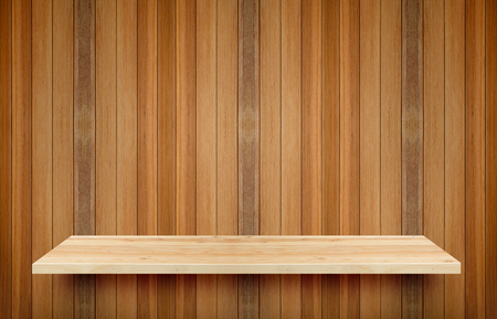 advertize: Wooden shelf and wall background. Its display for present product. Stock Photo