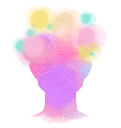 Doppio illustrazione esposizione. silhouette testa umana più acquerello astratto pittura .Digital.