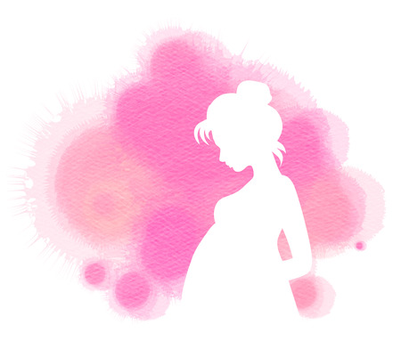 water birth: Pregnant woman silhouette plus abstract water color painted. Digital art painting.