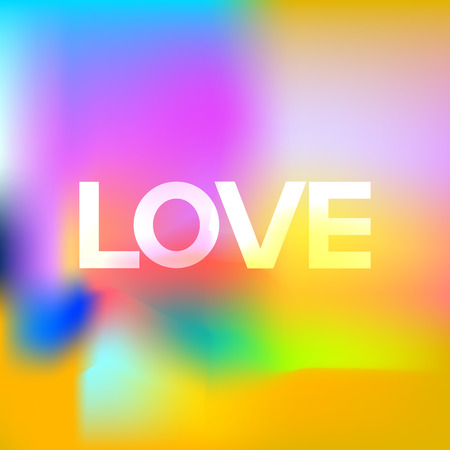 art painting: Inscription Love on colorful background. Digital art painting
