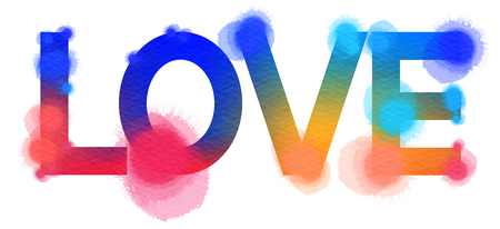 art painting: Inscription Love isolated on white background. Digital art painting multicolor.