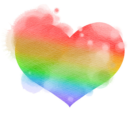 Watercolor heart. Concept about love and relationship. Digital art painting. Stock Photo