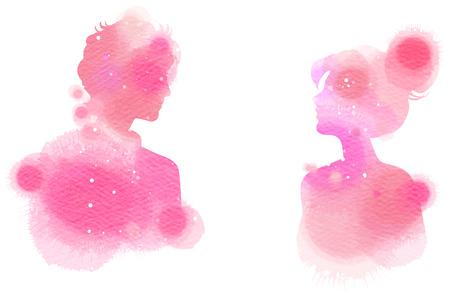 Romantische Valentine geliefden silhouet op aquarel achtergrond. Liefde op het eerste teken concept. Stockfoto