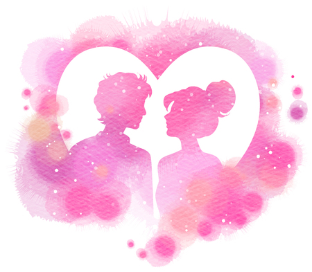Romantic Valentine lovers silhouette on watercolor heart background. Love at first sign concept.