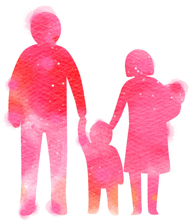 double exposure: Double exposure illustration. Happy family together hand in hand silhouette plus abstract water color painted. Digital art painting. Stock Photo