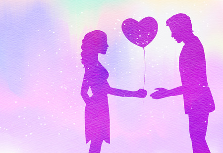 Young couple in love  silhouette on watercolor background. Romantic scene. Beautiful woman give a heart balloon for her lover Digital art painting.