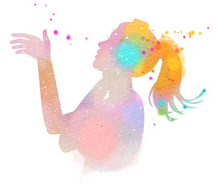 Double exposure illustration. Teenage girl listening to the music silhouette plus abstract water color painted. Digital art painting.