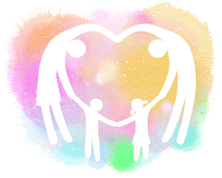 Double exposure illustration. Happy family making the heart sign silhouette plus abstract water color painted. Digital art painting.