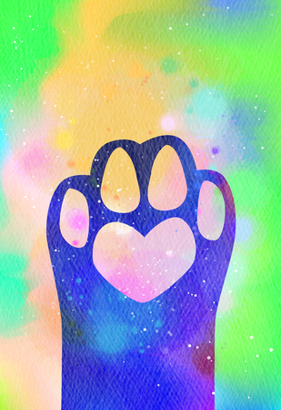 Watercolor animal footprint icon. Digital art painting.