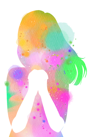 Watercolor of a girl praying or meditating. Digital art painting.