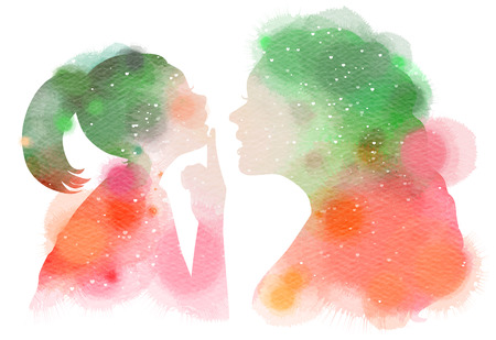 Double exposure illustration. Side view of Mother teaching her daughter someting silhouette plus abstract water color painted. Digital art painting. Stock fotó