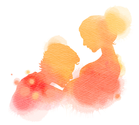 anticipation: Double exposure illustration. Side view of young man kissing the belly of his pregnant woman silhouette plus abstract water color painted. Digital art painting.