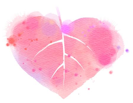 colors paint: Watercolor leaf  heart symbol. Stock Photo