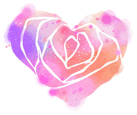 Watercolor illustration with rose in heart shape. Perfect for Valentines Day designs, cards, posters and other.  Digital art painting.