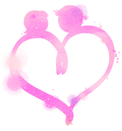 wedded: Romantic Valentine lovers silhouette on watercolor heart symbol. Love at first sign concept. Digital art painting.