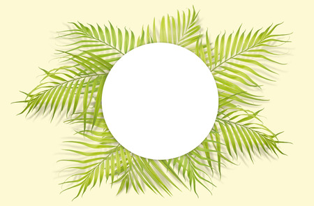 Tropical palm leaves with white paper on yellow background. Minimal nature. Summer Styled.  Flat lay.  Image is approximately 5500 x 3600 pixels in size. Stock Photo
