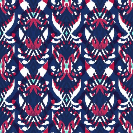패브릭에 대 한 Ikat 원활한 패턴 디자인입니다. 스톡 콘텐츠