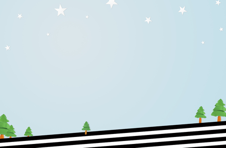 christmas tree illustration: Christmas background decoration with paper Christmas trees , star, black and white striped. Prepare .empty space for place your design