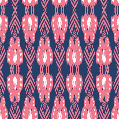 천, 커튼, 섬유 디자인, 벽지, 표면 질감 배경으로 Ikat 원활한 패턴.