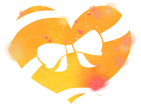 Heart with a ribbon wrapped around it.  Valentines Day. Watercolor style. Digital art painting. 版權商用圖片