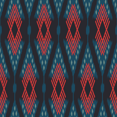 천, 커튼, 섬유 디자인, 침대 리넨, 벽지, 표면 질감 배경으로 Ikat 원활한 패턴. 스톡 콘텐츠 - 85078029