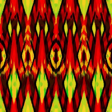 천, 커튼, 섬유 디자인, 벽지, 표면 질감 배경으로 Ikat 원활한 패턴. 스톡 콘텐츠 - 87154346