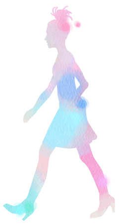 Young girl with dreadlocks walking silhouette on watercolor background. Digital art painting.