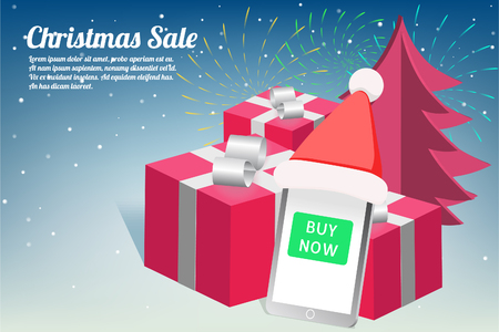 Christmas and New Year sale with fireworks design