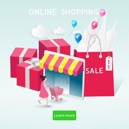 Online Shopping Concept. Happy Woman Shopping by her tablet. New Year sale design Eps10 vector.