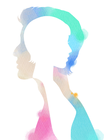 Double exposure of couple silhouette on watercolor background. Digital art painting.
