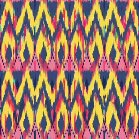 천, 커튼, 섬유 디자인, 벽지, 표면 질감 배경으로 Ikat 원활한 패턴. 스톡 콘텐츠 - 91983148