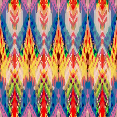 천, 커튼, 섬유 디자인, 벽지, 표면 질감 배경으로 Ikat 원활한 패턴. 스톡 콘텐츠 - 92359398