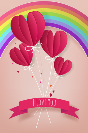 Love and Valentine Day concept, Paper hot air balloon heart shape floating with text i love you on the sky with rainbow , Paper cut style. Vector illustration. Banco de Imagens