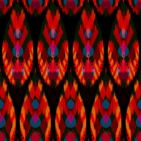천, 커튼, 섬유 디자인, 벽지, 표면 질감 배경으로 Ikat 원활한 패턴. 스톡 콘텐츠 - 93859842