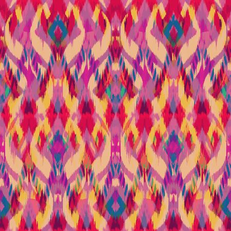 천, 커튼, 섬유 디자인, 벽지, 표면 질감 배경으로 Ikat 원활한 패턴. 스톡 콘텐츠 - 93869060
