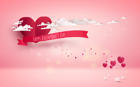 Red heart flower on pink background with red heart balloon flying with cloudy. Love concept. Happy Valentines Day wallpaper, poster, card. Vector illustration