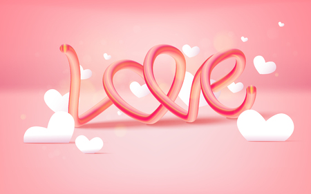 Vector illustration of love and valentine day with text LOVE and flying heart balloons. happy valentines day. Illustration
