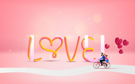 Vector illustration of love and valentine day with text I LOVE U and couple riding bicycle on romantic travel . happy valentines day.