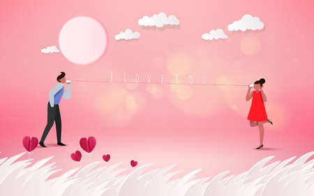 Red heart flower on pink background with sweet couple on honeymoon vacation. Love concept. Happy Valentines Day wallpaper, poster, card. Vector illustration. Illustration
