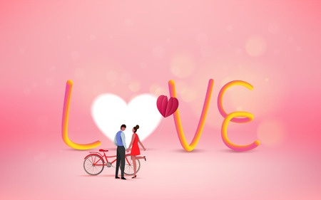 Red heart flower on pink background with sweet couple on honeymoon vacation. Love concept. Happy Valentine's Day wallpaper, poster, card. Vector illustration. Çizim