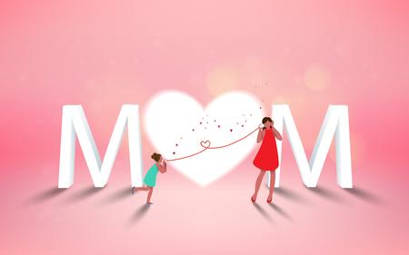 Bonne fête des mères. Maman et sa fille enfant jouent, souriant sur fond de coeur. Vacances en famille et convivialité. Vecteur illustratoin.