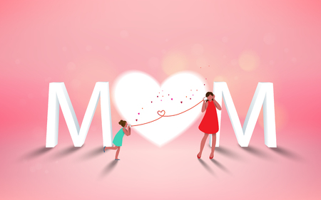 Happy mothers day. Mom and her daughter child are playing, smiling on heart background. Family holiday and togetherness. Vector illustratoin.