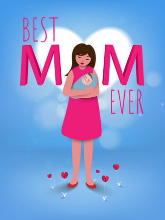 Happy mothers day conceptual banner Vector illustration with Mom cuddling her baby over a hearts background.